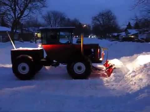 Homemade Tractor Plowing After Another Snow Storm