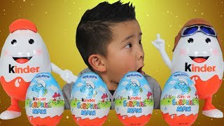 Smurfs Chocolate Kinder Surprise Eggs  Opening With Ckn Toys
