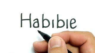 belajar cara menggambar pak BJ Habibie dari kata Habibie