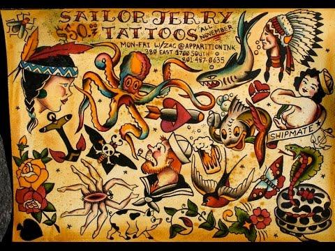 Sailor jerry skull tattoo flash