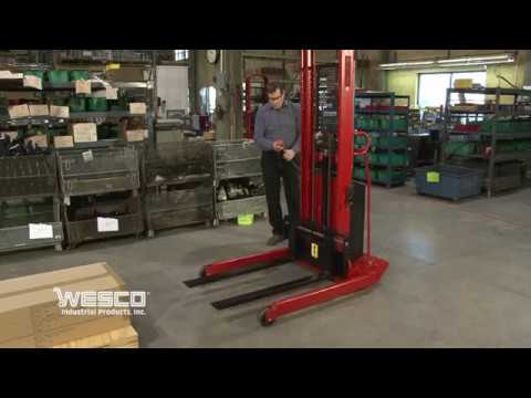 Wesco Powered Hydraulic Cylinder Stacker  1500 2000 Weight Capacity