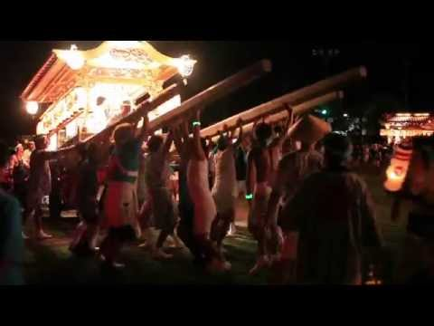 鋸南町佐久間の祭・佐久間小学校に7基が集合。高速で突進。Shimosakuma02