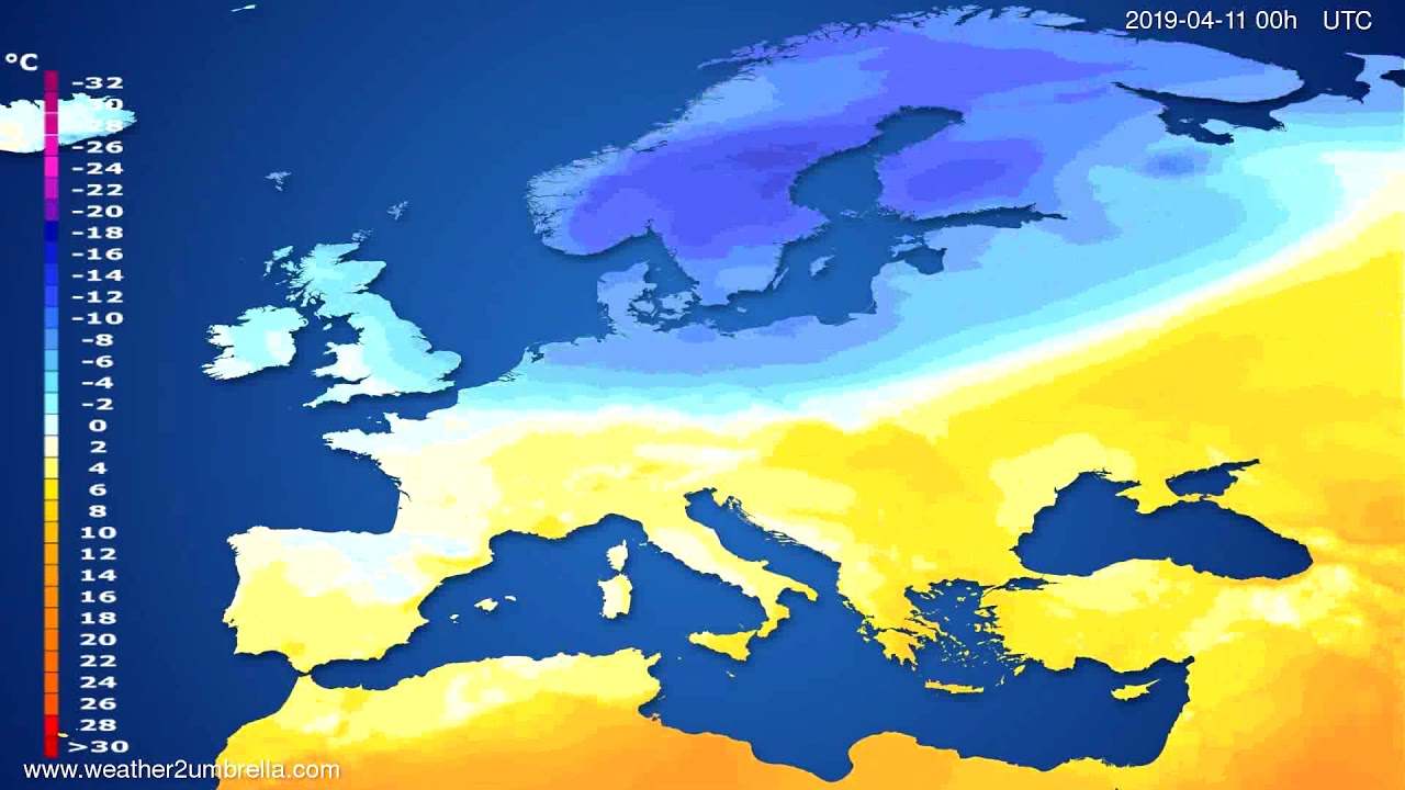 Temperature forecast Europe // modelrun: 12h UTC 2019-04-08