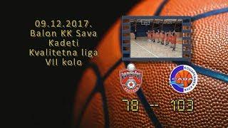 bkk radnički kk sava 78 103 (kadeti, 09 12 2017 ) košarkaški klub sava