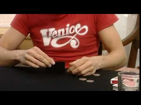 Amazing coin magic trick - Coins thru table with a magic trapdoor