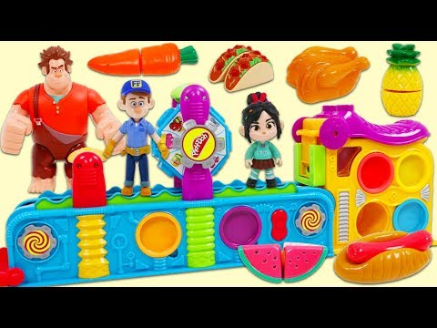 Wreck It Ralph Feeds Mr. Play Doh Head Using Magic Mega Fun Factory Playset!