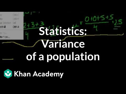 statistics variance of a population video khan academy
