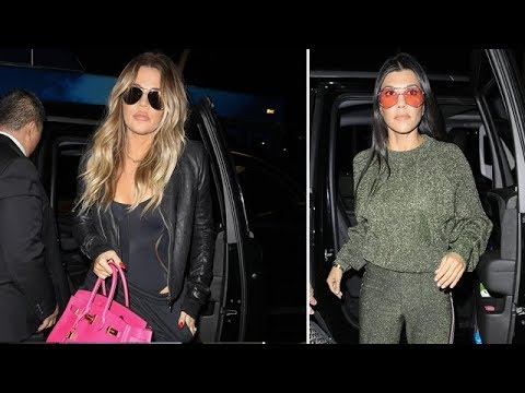 Khloe And Kourtney Kardashian Dressed For Comfort At LAX