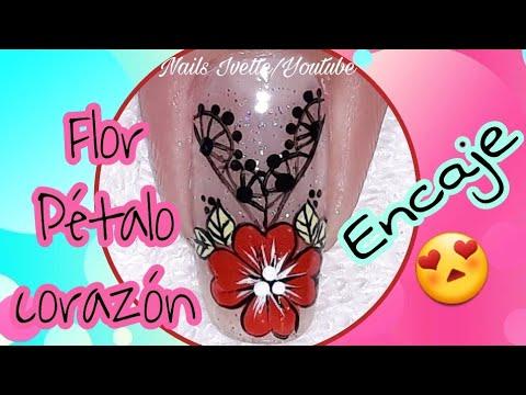 Modelos de uñas - Decoración de uñas flor pétalo corazon/Diseño de uñas con encaje/decoración de uñas con rojo