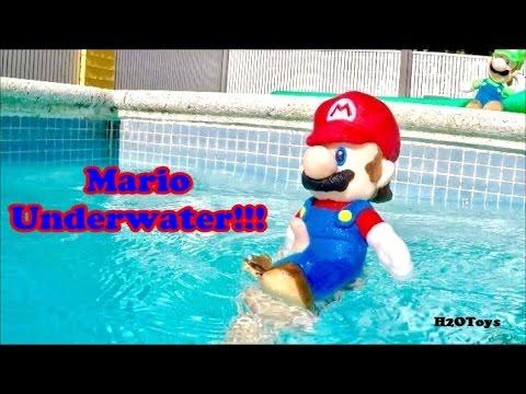Mario Underwater!!! | Pool Swim Super Mario Luigi