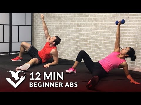 12 Min Beginner Ab Workout for Women & Men - Easy Abs Workout for Beginners at Home (видео)