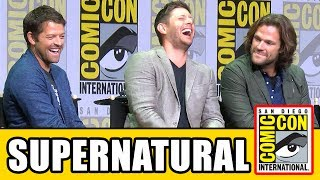 Supernatural Comic Con Season 13 panel news & highlights with Jensen Ackles, Jared Padalecki & Misha Collins.Subscribe for more! ► http://bit.ly/FlicksSubscribeN.B. Footage, clips, previews, trailers & sneak peeks shown at Comic Con panels are not included in this video, as these are not allowed to be filmed. RELATED VIDEOS--------------Supernatural Season 12 Comic Con Panel ► http://youtu.be/V-Sa2Kn1k8QSupernatural Season 11 Comic Con Panel ► http://youtu.be/1BYjUTyoEP4Supernatural Season 10 Comic Con Panel ► http://youtu.be/ruNXjj50_MMPLAYLISTS YOU MIGHT LIKE------------------------Marvel ► http://bit.ly/MarvelVideosFox Marvel Movies ► http://bit.ly/FoxMarvelVideosDC ► http://bit.ly/DCVideosMovie Deleted Scenes & Rejected Concepts ► http://bit.ly/MovieDeletedScenesEaster Eggs ► http://bit.ly/EasterEggVideosAmazing Movie Facts ► http://bit.ly/ThingsYouDidntKnowVideosPixar ► http://bit.ly/PixarVideosDisney Animation ► http://bit.ly/DisneyAnimationVideosStar Wars ► http://bit.ly/StarWarsVidsSOCIAL MEDIA & WEBSITE----------------------Twitter ► http://twitter.com/FlicksCityFacebook ► http://facebook.com/FlicksAndTheCityGoogle+ ► http://google.com/+FlicksAndTheCityWebsite ► http://FlicksAndTheCity.comThanks to Comic Con International http://www.comic-con.org/Series stars and executive producers answer questions about the shocking events in last season's intense two-part finale and preview what's in store for lucky season 13. Fans will also be treated to an exclusive video presentation featuring series highlights of your favorite guys from Kansas and maybe a surprise or two! The 13th season of Supernatural will return to Thursdays this fall in its new 8/7c time slot on The CW. The series is produced by Kripke Enterprises Inc. in association with Warner Bros. Television.Main CastJared Padalecki as Sam WinchesterJensen Ackles as Dean WinchesterMark Pellegrino as LuciferMisha Collins as Castiel Recurring CastAlexander Calvert as JackSamantha Smith as Mary WinchesterBriana Buckmaster as Donna HanscumKim Rhodes as Jody MillsKatherine Ramdeen as Alex JonesKathryn Love Newton as Claire Novak