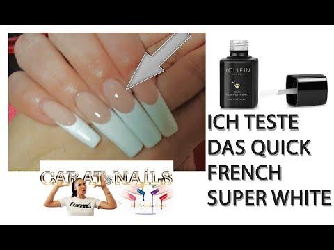 Nageldesign - TEST : French Nails  Fiberglasgel Make Up medium + Glossy Quick French Super White  Carat Nails