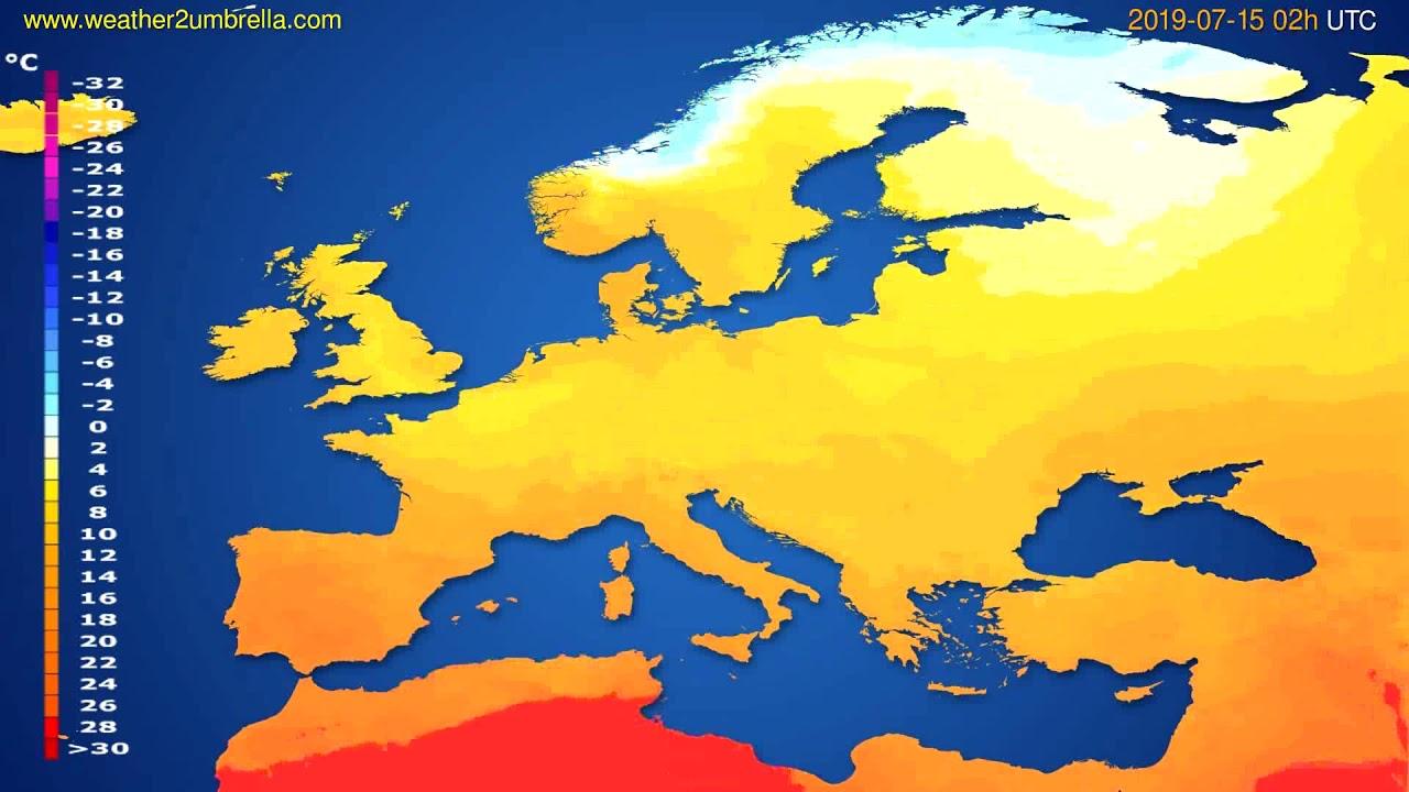 Temperature forecast Europe // modelrun: 00h UTC 2019-07-12