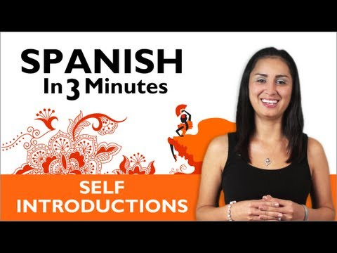 introduce - http://www.SpanishPod101.com/video Learn to introduce yourself in Spanish with our Spanish in Three Minutes series! Manners are important, and this step-by-s...