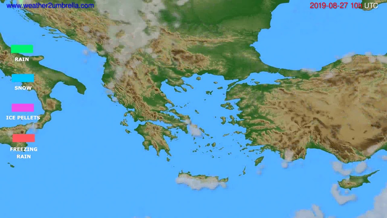 Precipitation forecast Greece // modelrun: 00h UTC 2019-08-25