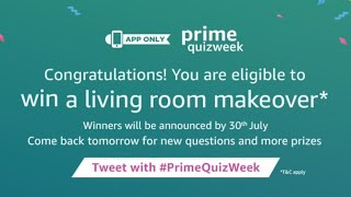Win a living room makeover, Amazon prime Quiz answers, Amazon app