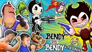 BENDY & THE INK MACHINE vs. HELLO NEIGHBOR, FGTEEV, AMAZING FROG, TATTLETAIL & FNAF Garry's Mod