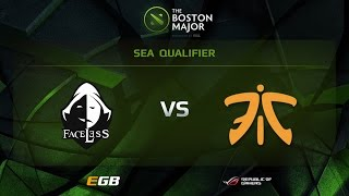 Fnatic vs Faceless, Boston Major SEA Qualifiers