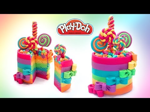 Dolls Food . Rainbow Colors Candy Cake. Play Doh for Kids and Beginners. DIY Video for Kids