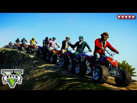 GTA 5 Online QUAD BIKE Stunts & Jumps   GTA 5 Epic Canyon Jump Gameplay