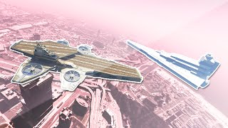 CRAZY HELICARRIER VS IMPERIAL STAR DESTROYER! (GTA Funny Moments)