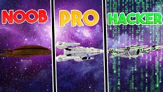 NOOB vs PRO vs HACKER! SPACESHIP CHALLENGE! | Minecraft w/ Little Kelly & Tiny Turtle