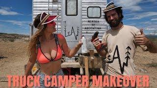 Vintage Truck Camper DIY Exterior MakeOver // RV Renovation in the Desert