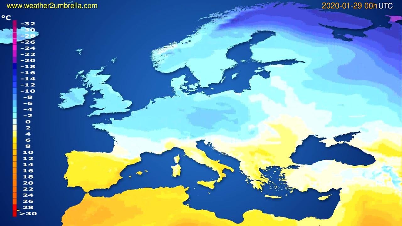 Temperature forecast Europe // modelrun: 00h UTC 2020-01-28