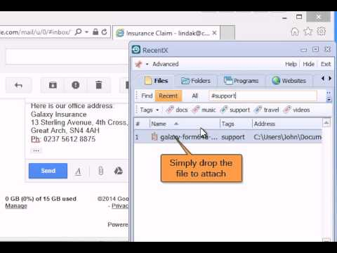 Quickly compose standard emails & attach files using RecentX
