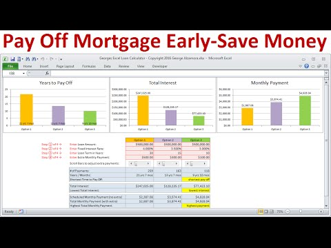 Pay Off Mortgage Early and Save Money on Interest: Calculate savings in Excel Mortgage Calculator