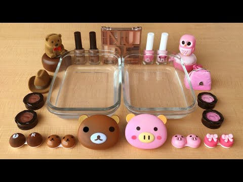 Brown Vs Pink | Mixing Makeup Eyeshadow Into Clear Slime | Special Series Satisfying Slime 41