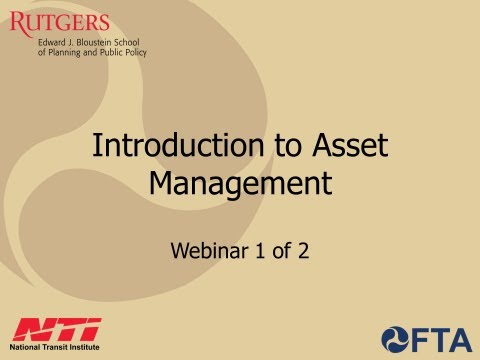 assetmanagement - Transit agencies manage major assets, particularly in the case of fixed guideways. This webinar series introduces a strategic approach to managing transit as...