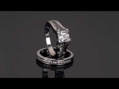 Marimor Jewelry Stainless Steel 2.10 Ct Princess Cut CZ 14k Wedding Ring Set