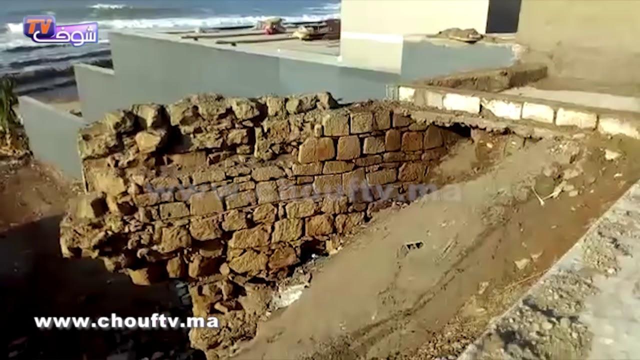 أول فيديو للسور اللي طاح فكازا بمنطقة العنق | خارج البلاطو