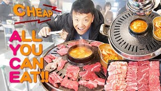 STANDING ONLY Korean BBQ & CHEAP All You Can Eat STEAK in Seoul