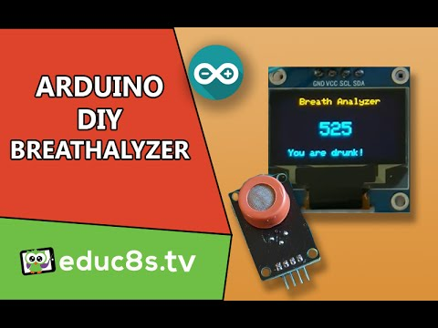 Arduino Breathalyzer Project using MQ3 alcohol sensor 0.96' 128x64 OLED display on Arduino Mega