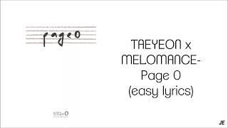 TAEYEON x MELOMANCE - PAGE 0 (EASY LYRICS)