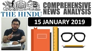 15 January 2019 The Hindu Newspaper Analysis Today In Hindi                               News Current Affairs  Iq