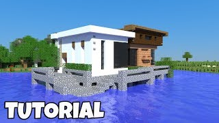 Minecraft: How to build a MODERN HOUSE on the WATER! 2018 Tutorial