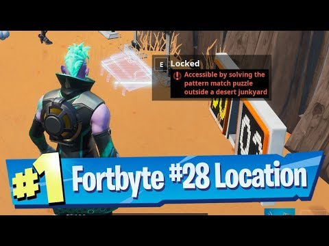 Fortnite Fortbyte #28 Location - Accessible By Solving Pattern Match Puzzle Outside Desert Junkyard