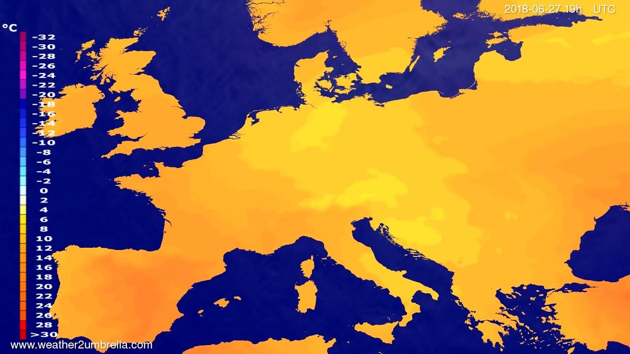 Temperature forecast Europe 2018-06-25