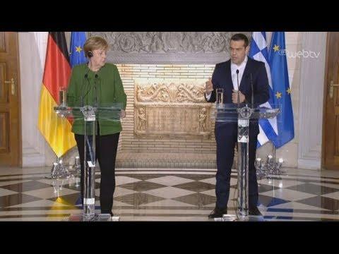 Κοινές δηλώσεις του πρωθυπουργού με την καγκελάριο της Γερμανίας στο Μέγαρο Μαξίμου