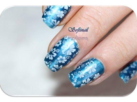 tutorial nail art stamping fleur