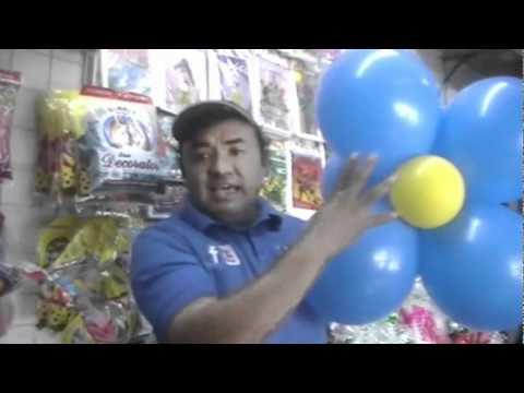 DECORACION CON GLOBOS FLOR DE 5 PETALOS DOBLE