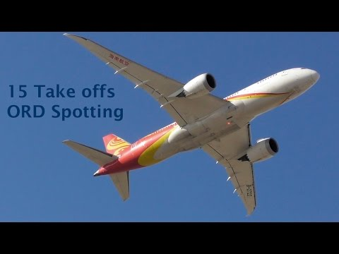 15 Take offs ORD Spotting [Part 1] - B748, B788, B738, A320, A319, CRJ7, CRJ2, E75L, E45X