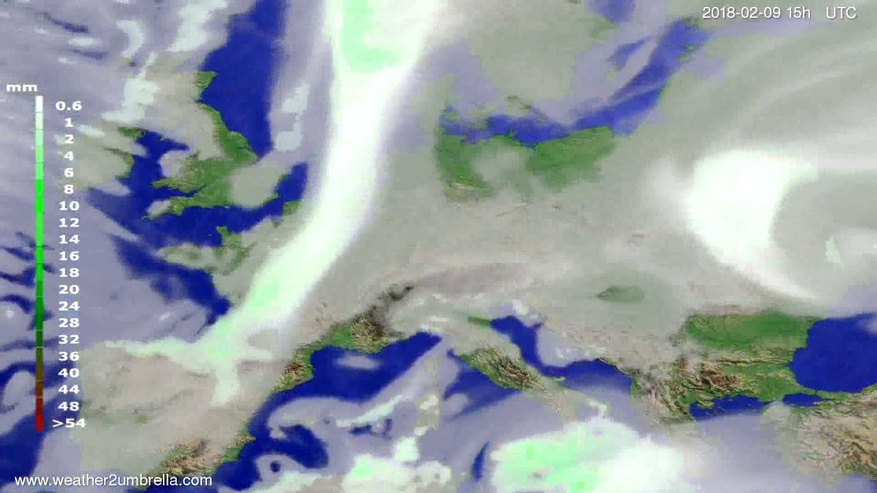 Precipitation forecast Europe 2018-02-07