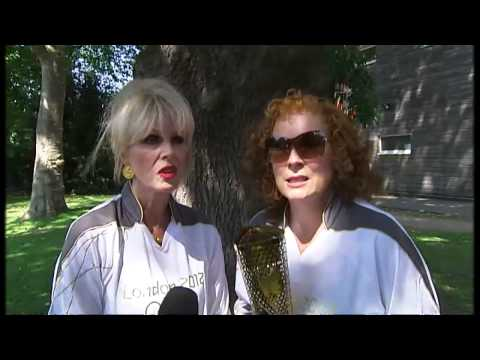 fabulous - Paraic O'Brien meets AbFab duo Joanna Lumley and Jennifer Saunders who break some Olympic rules while holding the torch.....