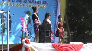 Hmong Thailand New Year: 2013, three girls dance