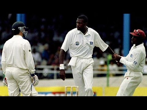 Famous cricket fight- CURTLY AMBROSE vs STEVE WAUGH- Trinidad 1995 3rd test